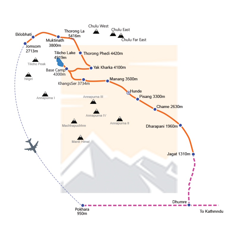 Annapurna Circuit with Tilicho Lake and Thorung La Pass Trek route map